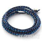 宝蓝色水晶编织手链