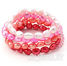 粉红渐变珍珠弹力手链