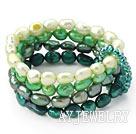 绿色渐变珍珠弹力手链