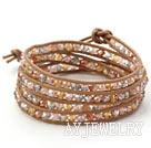 多色水晶皮绳手链
