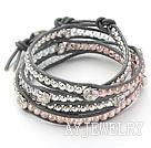 粉色水晶银珠佛头皮绳手链