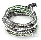 绿色水晶银珠骷髅头皮绳手链