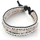 灰玛瑙银珠手链 三层皮绳编织款