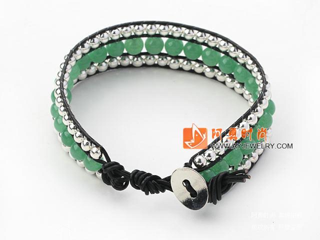 东陵玉银珠手链 三层皮绳编织款
