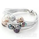 11-12mm多色珍珠多层皮绳手链