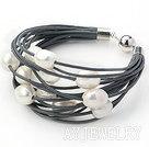 11-12mm白色珍珠多层灰皮绳手链
