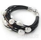 11-12mm白色珍珠多层黑皮绳手链