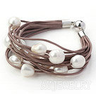 11-12mm白色珍珠多层皮绳手链