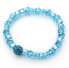 湖蓝色水晶钻球手链