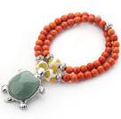 橘色松石宝石小乌龟双层手链