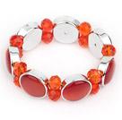 橘色猫眼石水晶手环 简约单层款