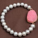 晶牙水晶灰珍珠弹力手链
