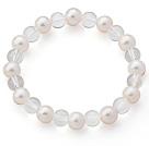 A级珍珠白水晶弹力手链
