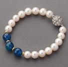 A级珍珠蓝玛瑙手链