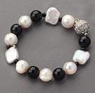 再生珍珠黑玛瑙手链 简约单层款