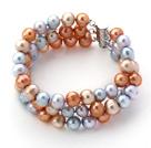 三排彩色珍珠手链