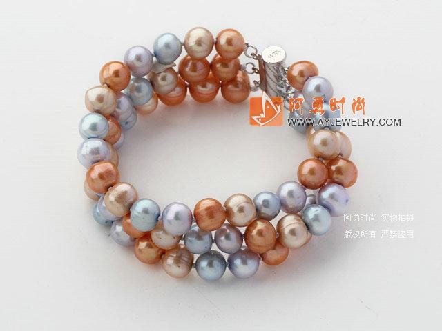三排彩色珍珠手链 - 编号:y1767