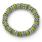 橄榄绿猫眼石手链 单圈圆珠弹力线款