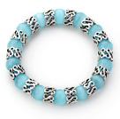 青蓝色猫眼石手链 单圈圆珠弹力线款