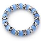 蓝色猫眼石手链 单圈圆珠弹力线款