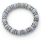 青灰色猫眼石手链 单圈圆珠弹力线款