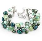 绿色系珍珠手工编织手链