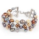 彩色系珍珠手工编织手链