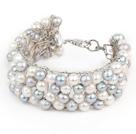 灰白色珍珠编织手镯