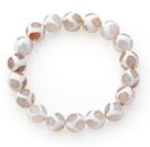 白纹火玛瑙手链 单圈圆珠弹力线款
