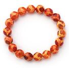 橘红纹火玛瑙手链 单圈圆珠弹力线款