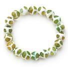 绿白纹火玛瑙手链 单圈圆珠弹力线款