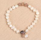 白珍珠草莓石手串