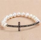 白珍珠十字架弹力手链