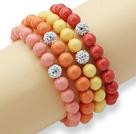 彩色海贝珠钻球手链(4个)