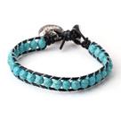 松石切面皮绳手链 简约单层皮绳编织款