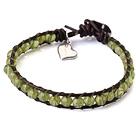 天然橄榄石皮绳手链 单层皮绳编织款