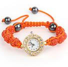 橘红色钻球手表手链