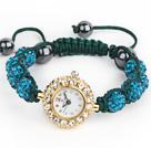 孔雀蓝钻球手表手链
