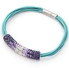 紫色软陶水钻手链