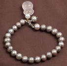 灰珍珠粉晶钱袋手链
