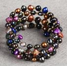 混色珍珠三圈手环