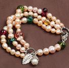 三层粉珍珠多彩水晶手链
