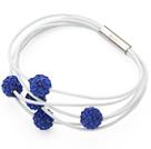 宝石蓝软陶水钻皮绳手链