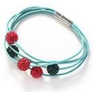 红绿色软陶水钻球手链 皮绳款