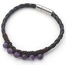 紫水晶皮绳手链