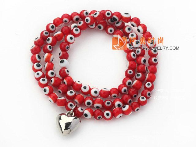 红色琉璃三圈手链
