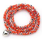 橘色琉璃三圈手链