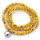黄色琉璃三圈手链