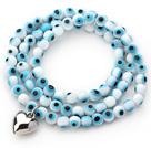 蓝白色琉璃三圈手链