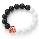 黑玛瑙白瓷石玫瑰金镂空球手链 单圈圆珠弹力线款